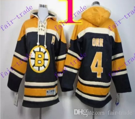 Stitched Boston Bruin Hoody #4 Bobby Orr Black Hockey Jerseys Ice Jersey