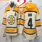 Stitched Boston Bruin Hoody #4 Bobby Orr Cream Hockey Jerseys Ice Jersey