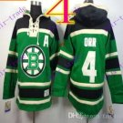 Stitched Boston Bruin Hoody #4 Bobby Orr Green Hockey Jerseys Ice Jersey