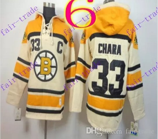 Stitched Boston Bruin Hoody #33 ZDENO CHARA Cream Hockey Jerseys Ice Jersey