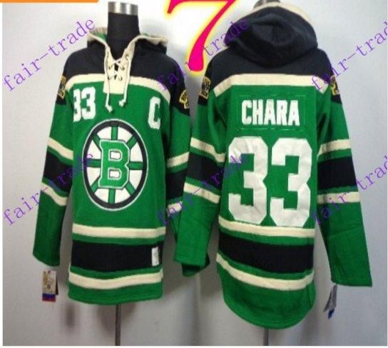 Stitched Boston Bruin Hoody #33 ZDENO CHARA Green Hockey Jerseys Ice Jersey