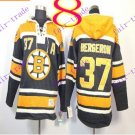 Stitched Boston Bruin Hoody #37 Patrice Berger Black Hockey Jerseys Ice Jersey