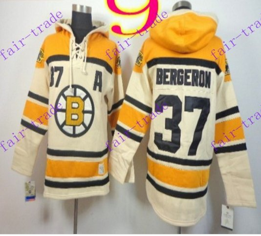 Stitched Boston Bruin Hoody #37 Patrice Berger Cream Hockey Jerseys Ice Jersey
