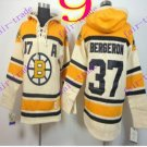 Stitched Boston Bruin Hoody #37 Patrice Berger Cream Hockey Jerseys Ice Jersey