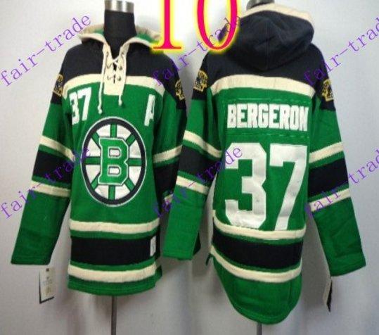 Stitched Boston Bruin Hoody #37 Patrice Berger Green Hockey Jerseys Ice Jersey