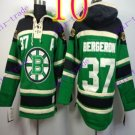 Stitched Boston Bruin Hoody #37 Patrice Berger Green Hockey Jerseys Ice Jersey