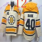 Stitched Boston Bruin Hoody #40 TUUKKA RASK Cream Hockey Jerseys Ice Jersey