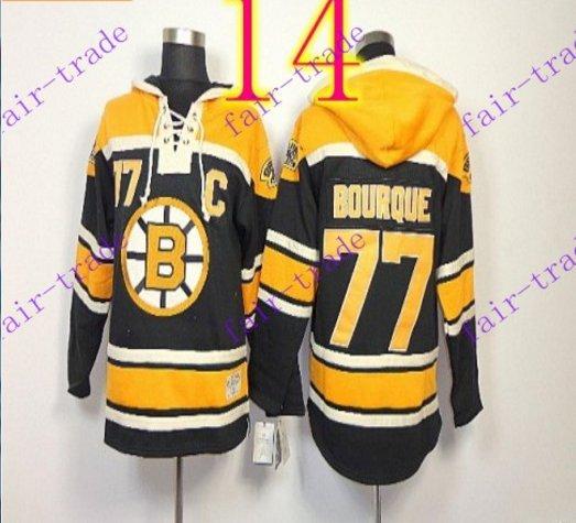 Stitched Boston Bruin Hoody #77 Ray Bourque Black Hockey Jerseys Ice Jersey