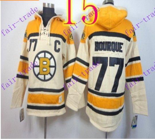 Stitched Boston Bruin Hoody #77 Ray Bourque Cream Hockey Jerseys Ice Jersey