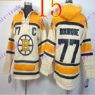Stitched Boston Bruin Hoody #77 Ray Bourque Cream Hockey Jerseys Ice Jersey