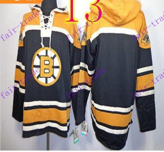 Stitched Boston Bruin Hoody Black Hockey Jerseys Ice Jersey