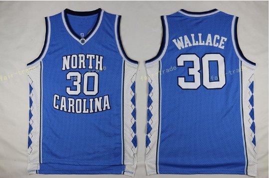 2017 North Carolina Tar Heels College 30 Rasheed Wallace BlueJersey