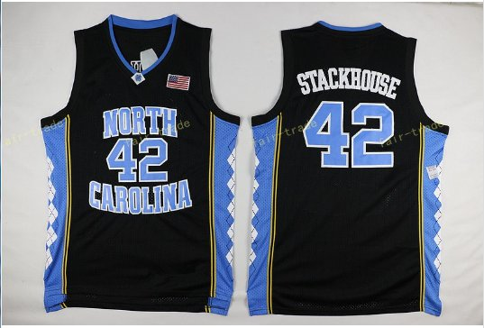 2017 North Carolina Tar Heels College 42 Jerry Stackhouse Jersey Black
