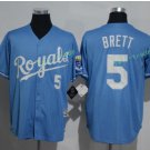 Kansas City Royals #5 George Brett Away Jersey Blue  KC Throwback Pullover Stitched Style 3