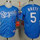 #5 George Brett Jersey Blue Throwback Kansas City Royals Jerseys Style 1