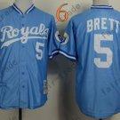 #5 George Brett Jersey Blue Throwback Kansas City Royals Jerseys Style 3
