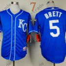 #5 George Brett Jersey Blue Throwback Kansas City Royals Jerseys Style 4