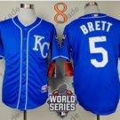 #5 George Brett Jersey Blue Throwback Kansas City Royals Jerseys Style 5
