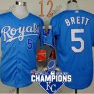 #5 George Brett Jersey Blue Throwback Kansas City Royals Jerseys Style 8