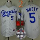 #5 George Brett Jersey White Throwback Kansas City Royals Jerseys Style 1