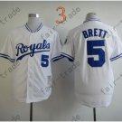 #5 George Brett Jersey White Throwback Kansas City Royals Jerseys Style 2