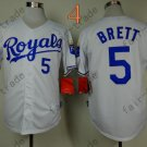 #5 George Brett Jersey White Throwback Kansas City Royals Jerseys Style 3