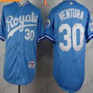 #30 Yordano Ventura Jersey Stitched Kansas City Royals Jerseys KC Blue Style 1
