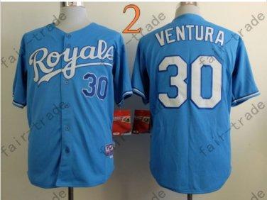 #30 Yordano Ventura Jersey Stitched Kansas City Royals Jerseys KC Blue Style 2
