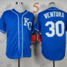 #30 Yordano Ventura Jersey Stitched Kansas City Royals Jerseys KC Blue Style 3