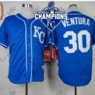 #30 Yordano Ventura Jersey Stitched Kansas City Royals Jerseys KC Blue Style 4