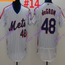 2016 Flexbase Stitched New York Mets 48 DeGrom White Throwback Jersey Style 2