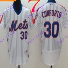 2016 Flexbase Stitched New York Mets 30 Conforto White Throwback Jersey Style 2