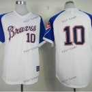 atlanta braves #10 chipper jones 2015 Baseball Jersey White Rugby Jerseys Authentic Stitched Style 2