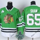 New #65 andrew shaw Blackhawks Green Ice Hockey Jerseys 2015 Final Stanley Cup Patch Accept