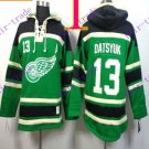 Stitched Detroit Red Wings Hoody #13 Datsyuk Hockey men Green Jerseys Ice Jersey