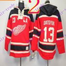 Stitched Detroit Red Wings Hoody #13 Datsyuk Hockey men Red Jerseys Ice Jersey