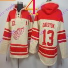Stitched Detroit Red Wings Hoody #13 Datsyuk Hockey men Cream Jerseys Ice Jersey