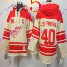Stitched Detroit Red Wings Hoody #40 Zetterberg  Hockey men Cream Jerseys Ice Jersey