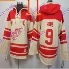 Stitched Detroit Red Wings Hoody #9 Howe Hockey men Cream Jerseys Ice Jersey