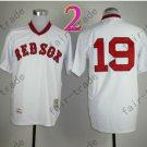 Boston Red Sox Jersey 19 Fred Lynn White Shirt Throwback Baseball Jersey