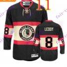 Stitched NHL Chicago Blackhawks Nick LEDDY #8 Black Hockey Jerseys Ice