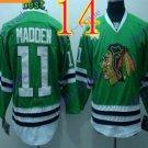 Stitched NHL Chicago Blackhawks 11 John Madden Green Hockey Jerseys Ice