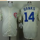 Chicago Cubs #14 Ernie Banks  Away Baseball Jersey White Throwback Base Stitched Jerseys Style 2