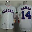 Chicago Cubs #14 Ernie Banks  Away Baseball Jersey White Throwback Base Stitched Jerseys Style 7