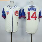 Chicago Cubs #14 Ernie Banks  Away Baseball Jersey White Throwback Base Stitched Jerseys Style 8