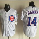 Chicago Cubs #14 Ernie Banks  Away Baseball Jersey White Throwback Base Stitched Jerseys Style 9