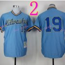 Robin Yount Jersey 1982 Retro Blue Milwaukee Brewers Jerseys Throwback