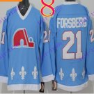 Cord NHL Quebec Nordique #21 Forsberg Light Blue Hockey Jersey Stitched