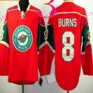 Stitched Minnesota Wild Blank 8 BURNS Red Hockey Jersey Ice
