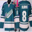 Stitched Minnesota Wild Blank 8 BURNS Green Hockey Jersey Ice